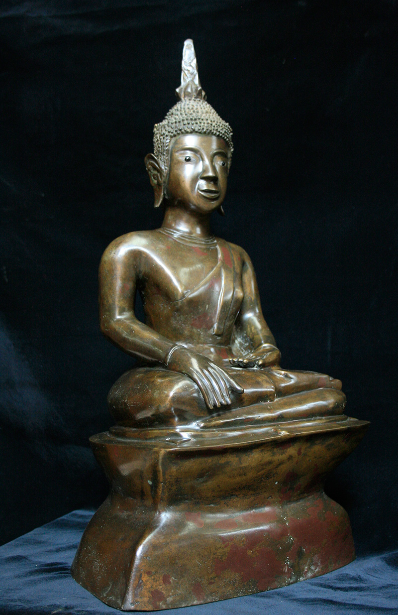 Extremely Rare Early 18C Sitting Bronze Laos Buddha #069-2