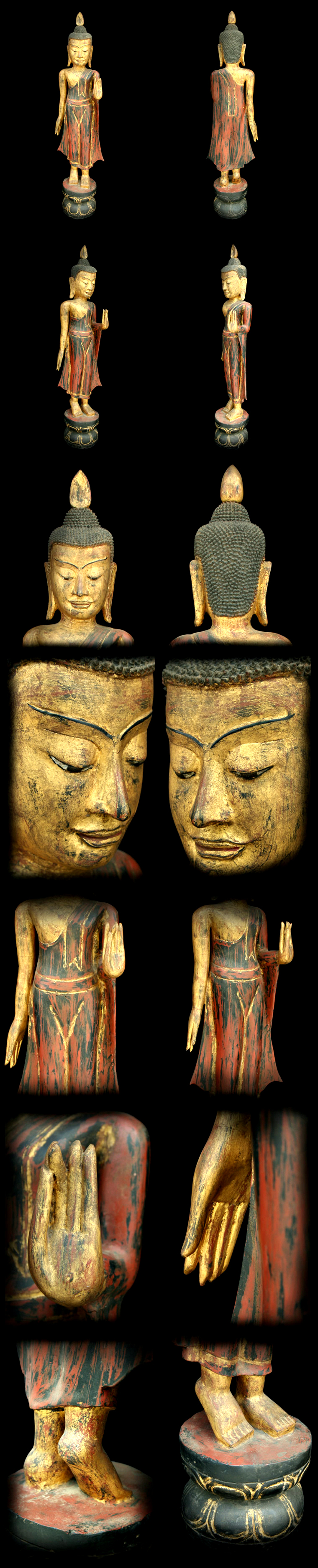 Extremely Rare 18C Wood Walking Laos Buddha #087-2