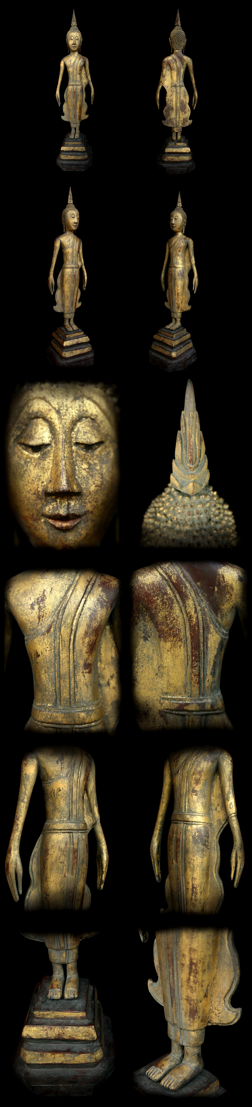 Extremely Rare 18C Wood Thai - Laos Buddha #098-2
