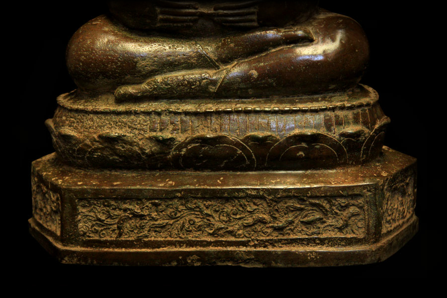 Extremely Rare Early 19C Bronze Thai Happy Buddha #BB130