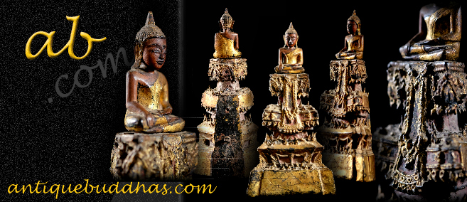 Extremely Rare 19C Pair of Thai Lanna Buddha #BB42
