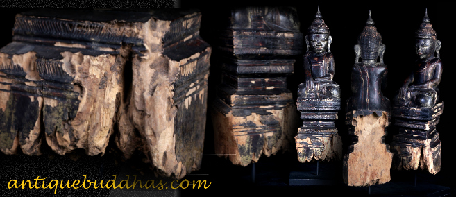 Extremely Rare 19C Wood Sitting Mandalay Buddha #AL1047