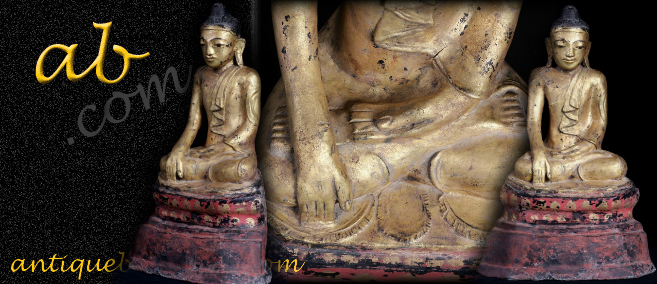Extremely Rare Early 19C Lacque Mandalay Buddha #A080