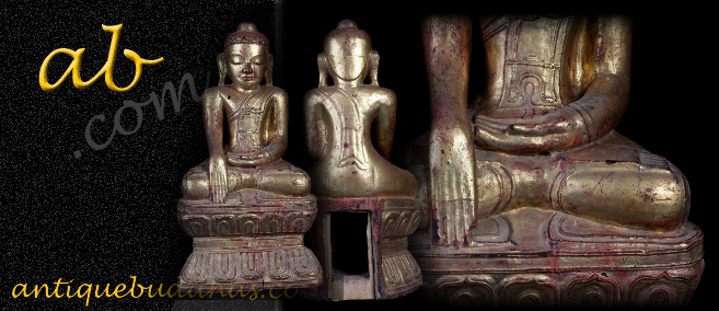 Extremely Rare 19C Wood Sitting Mandalay Buddha #A109