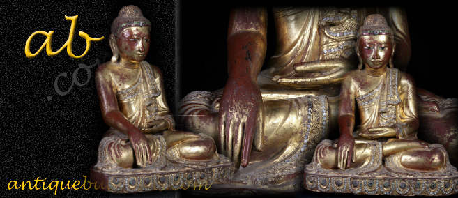 Extremely Rare 19C Sitting Wood Mandalay Buddha #A111