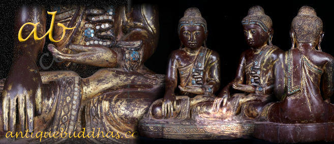 Extremely Rare 19C Wood Sitting Mandalay Buddha #A112