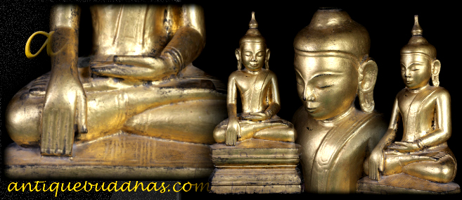 Extremely Rare 18C Wood Sitting Shan Buddha #A114