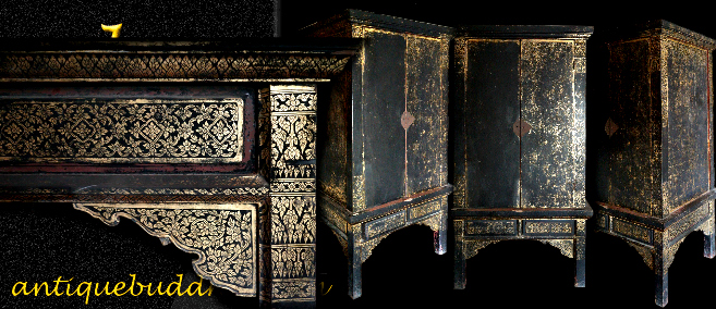 Extremely Rare Early 19C Thai Rattanakosin Buddhist Chest #A120