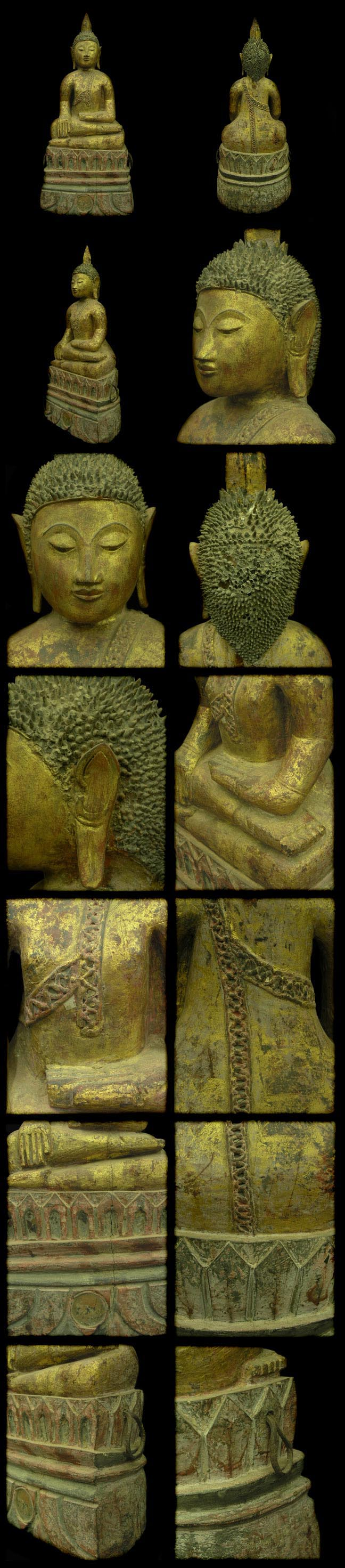 Extremely Rare 19C Wood Asian Laos Buddha #AL.917