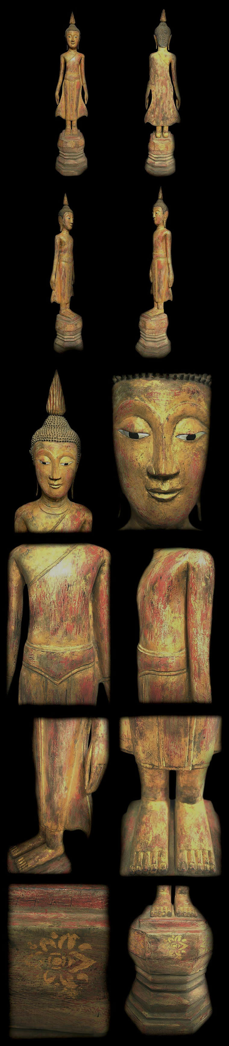 Extremely Rare Late 18C Standing Wood Laos Buddha #AL.1020