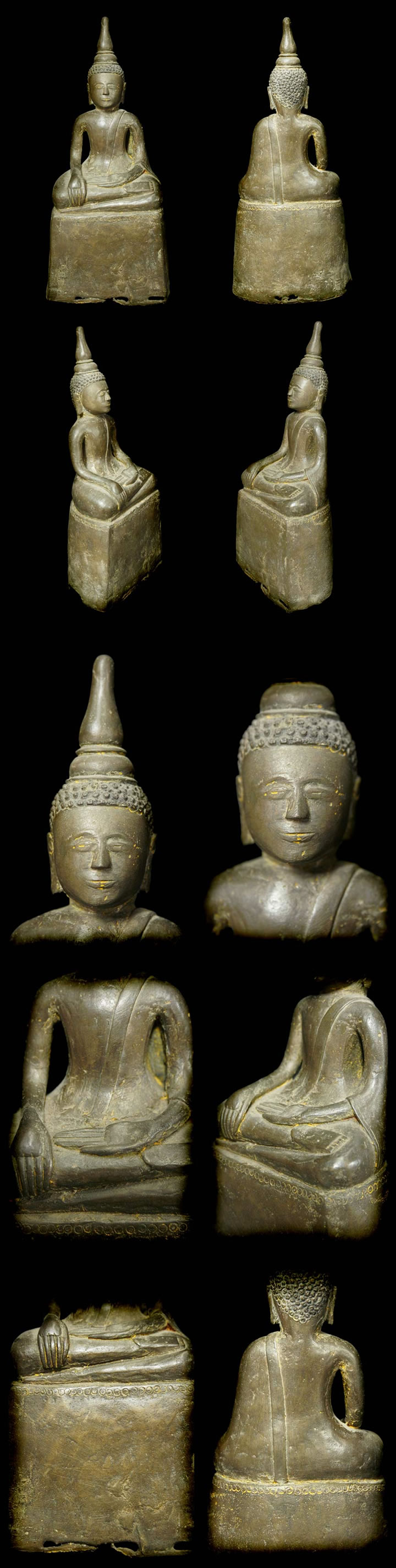 Extremely Rare Early 17C Sitting Bronze Laos Buddha #AL1051