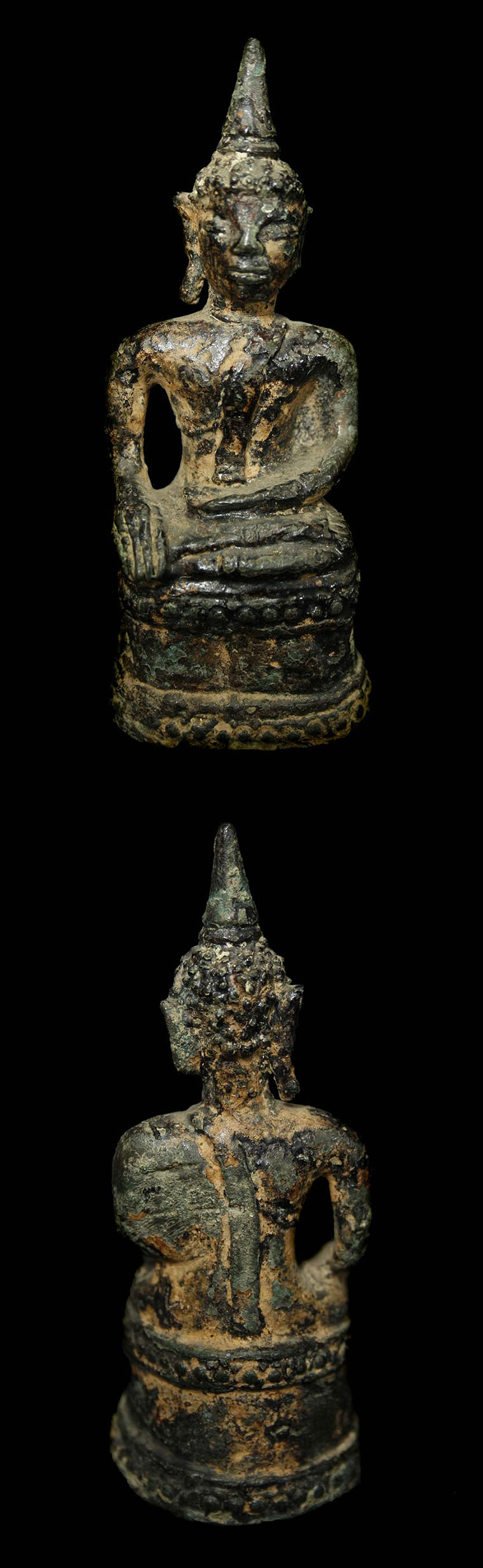 Extremely Rare Early 18C Bronze Laos Buddha #AL.1057