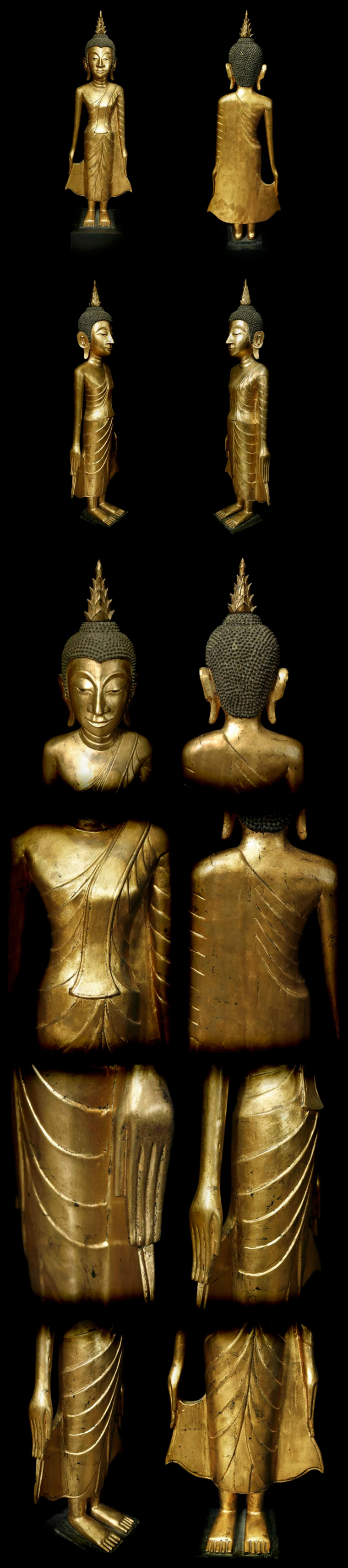 Extremely Rare Late 18C Standing Wood Laos Buddha #AL.1061