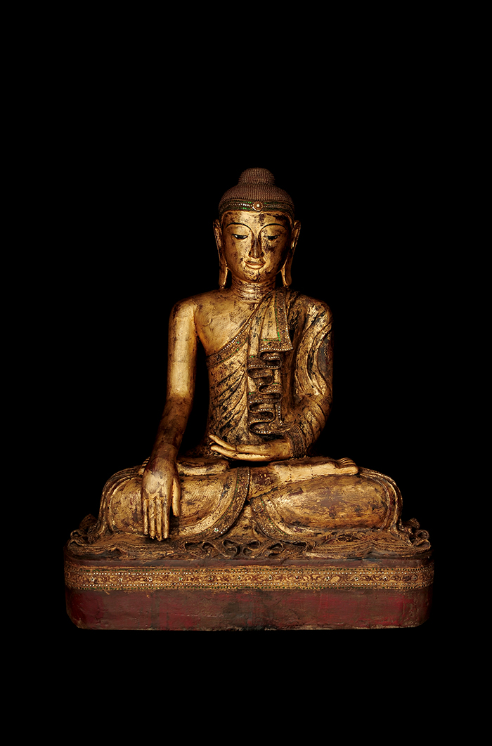 Rare 19C Wood Sitting Burmese Mandalay Buddha #BB440
