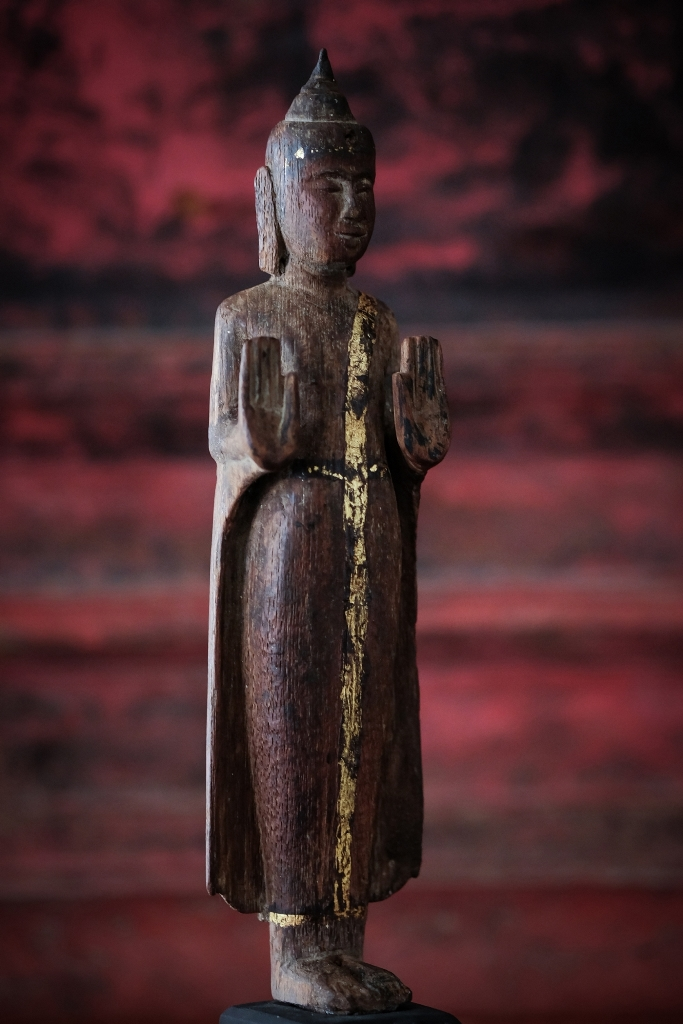 Extremely Rare 19C Wood Thai Lanna Buddha #BB442