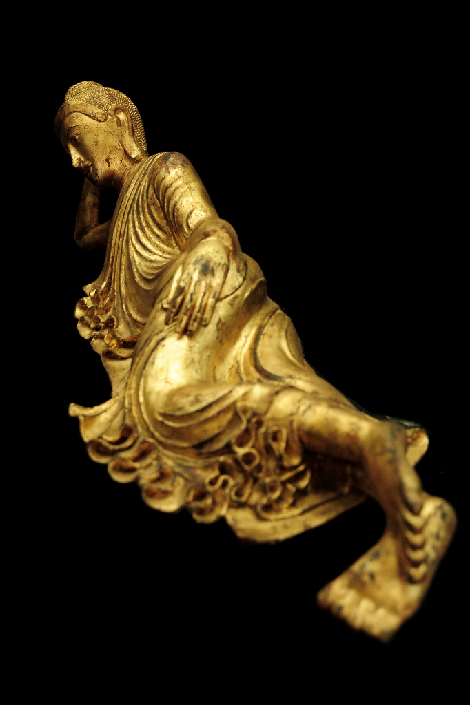 Extremely Rare 19C Reclining Lacquer Mandalay Buddha #BB458
