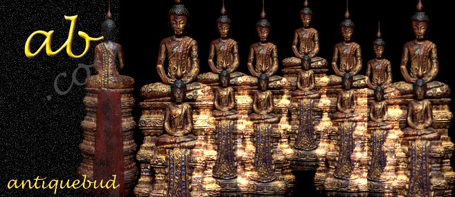 Extremely Rare 19C Two Stand Wood Thai Buddha #BB067