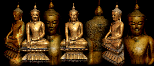 Extremely Rare Early 18C Wood Ava Burma Buddha #AC.270