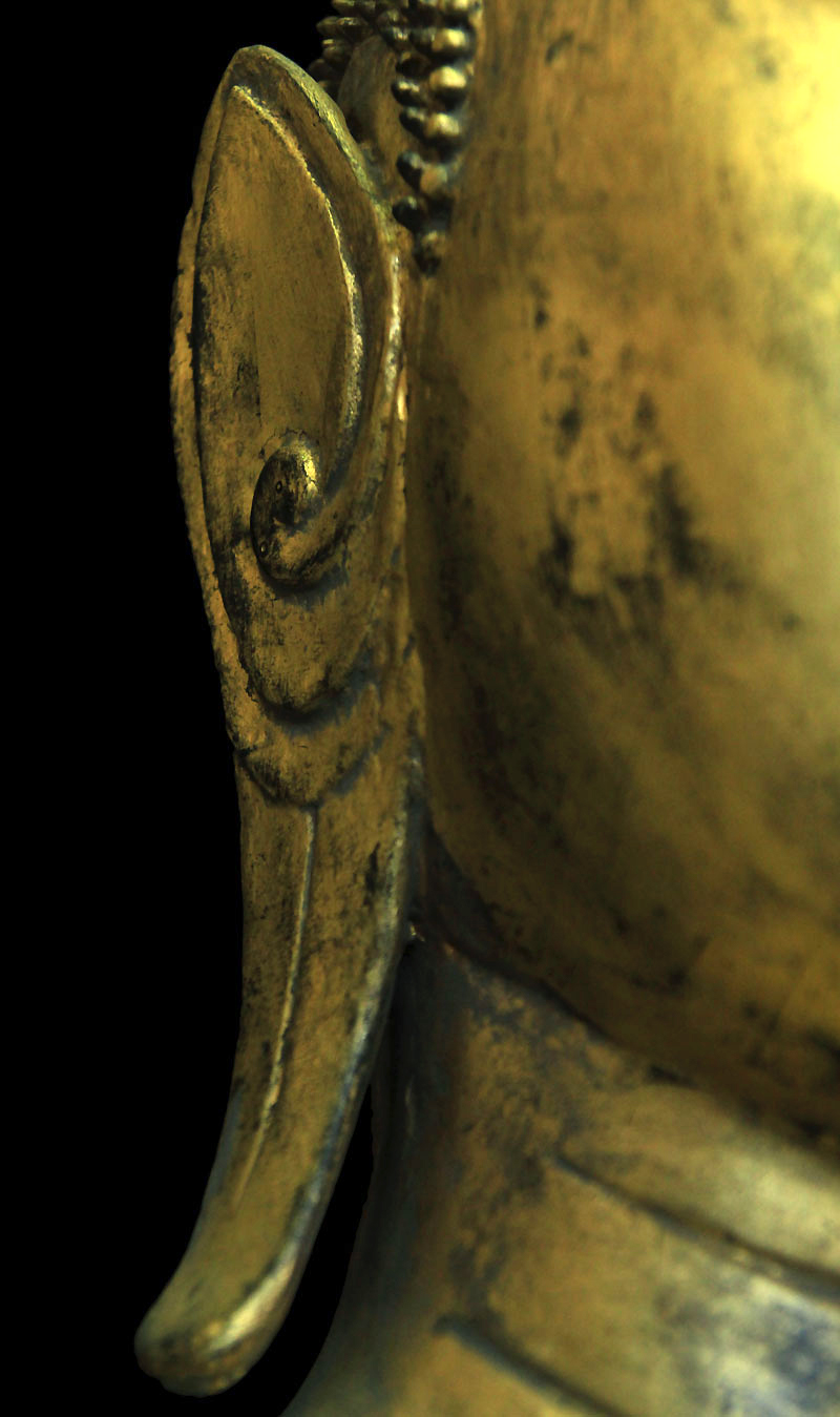 Extremely Rare 19C Standing Wood Laos Buddha #BB80