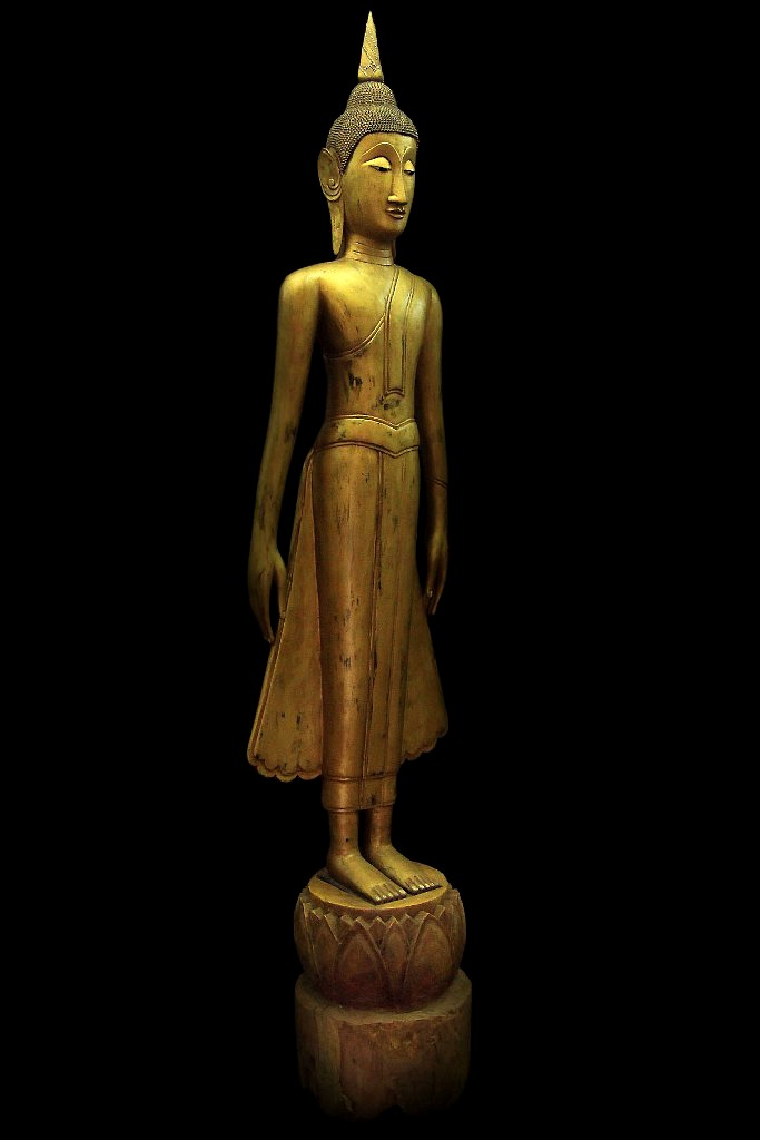 Extremely Rare Early 19C Wood Standing Laos Buddha #BB225