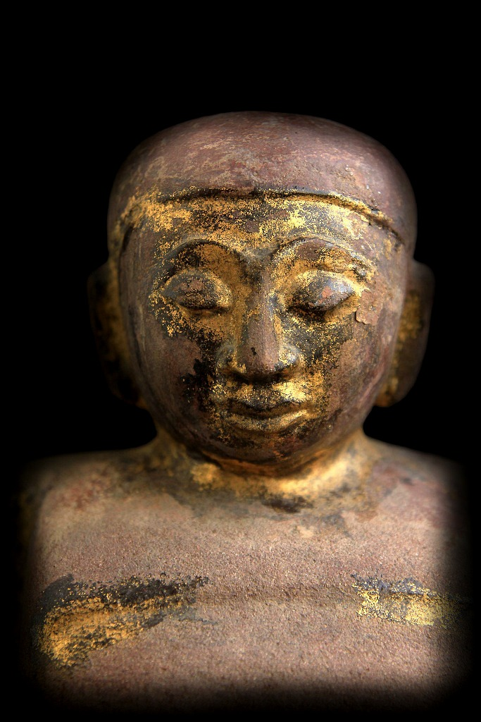 Extremely Rare 18C Sandstone Happy Laos Buddha #BB237