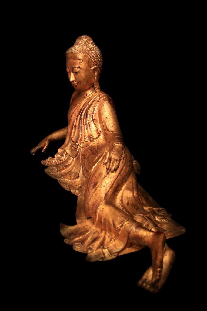 Extremely Rare 19C Reclining Lacquer Mandalay Buddha #BB227