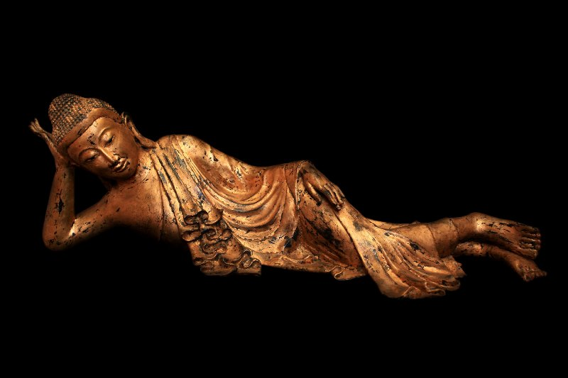 Extremely Rare 19C Reclining Lacquer Mandalay Buddha #BB249