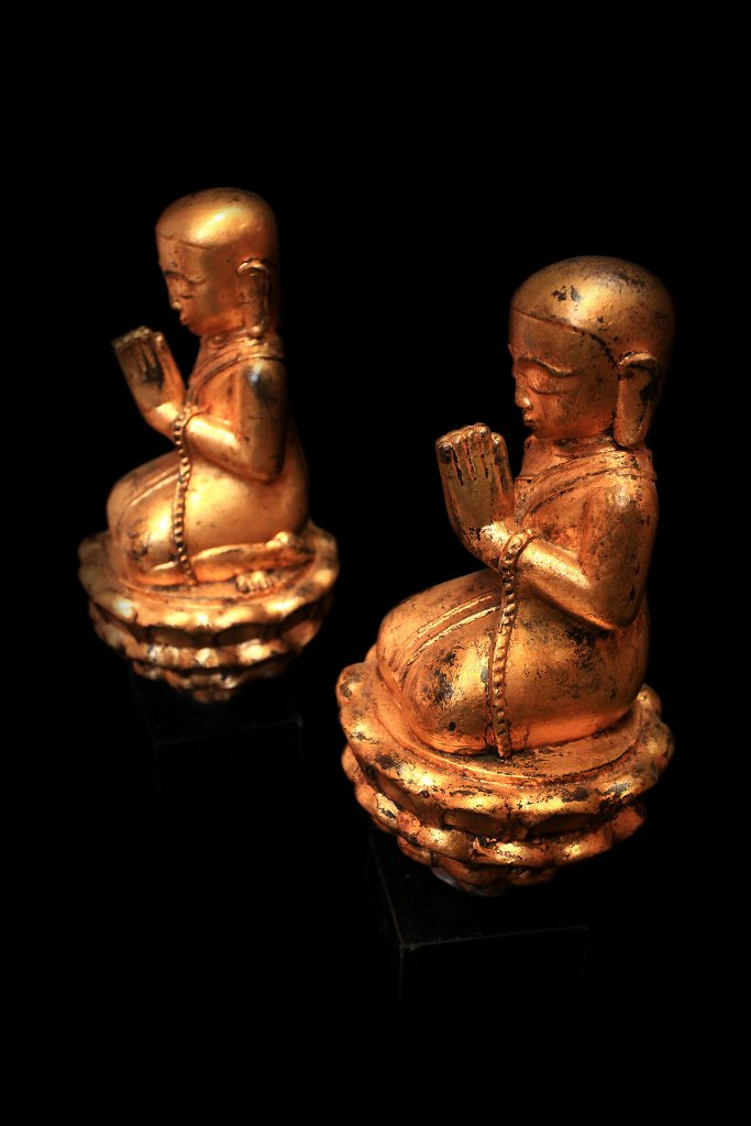Extremely Rare 18C Pair Of Lacquer Burmese Monks #BB254