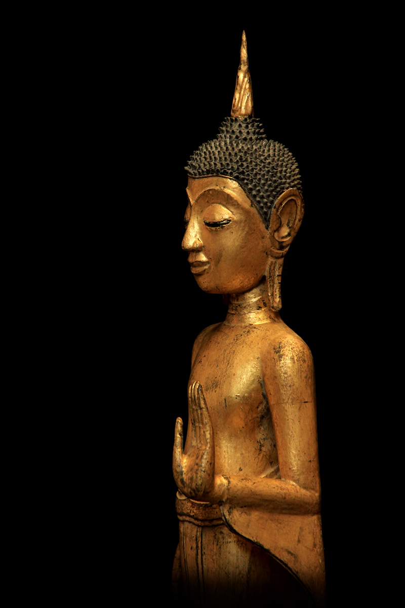 Extremely Rare Early 19C Wood Standing Rattanakosin Buddha #BB336