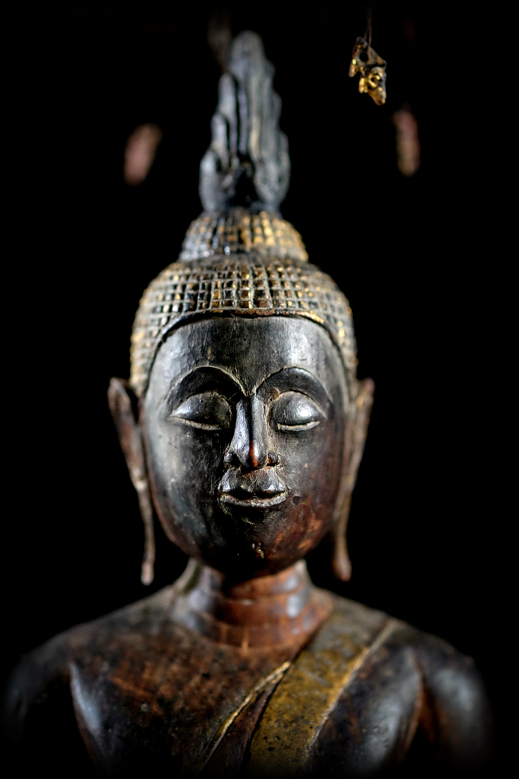 Extremely Rare Early 19C Wood Thai Buddha #CA070