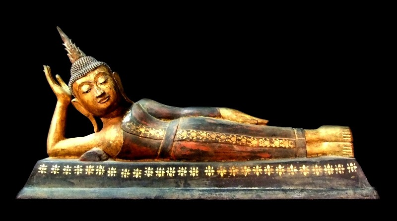 Extremely Rare 18C Reclining Laos Buddha #WR009-2
