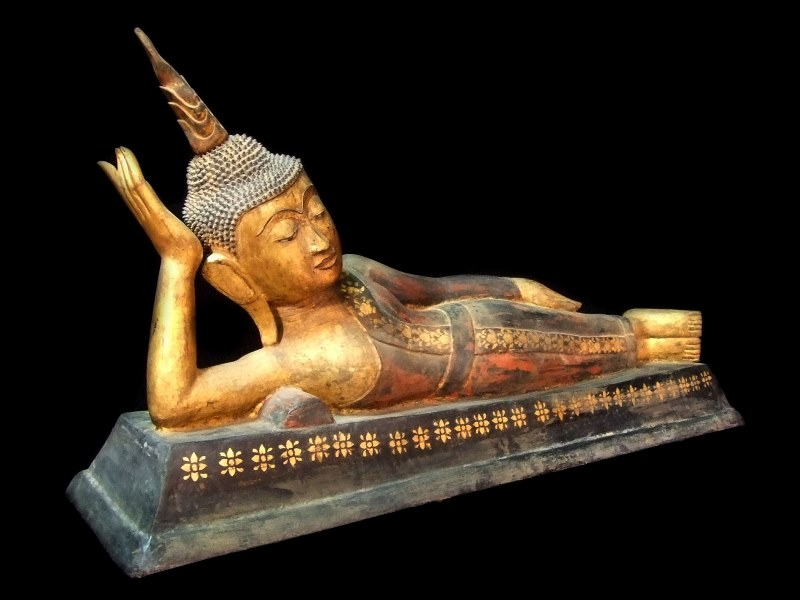 Extremely Rare 18C Reclining Laos- Thai Buddha #WR009-2