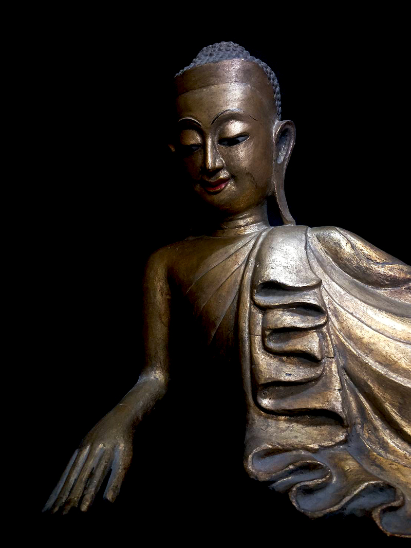 Extremely Rare 18C Reclining Wood Shan Buddha #DW030