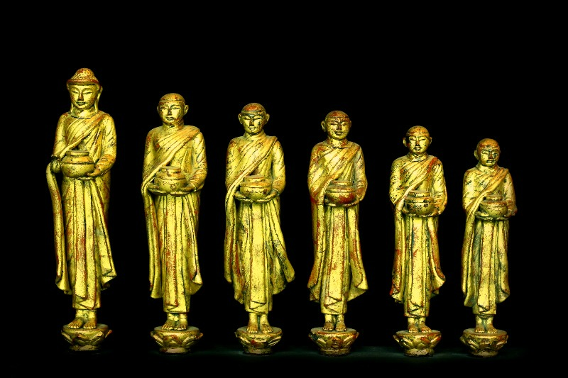ExtremeLy Rare Early 19C Lacquer Set Burmese Buddhist Monks #DW061
