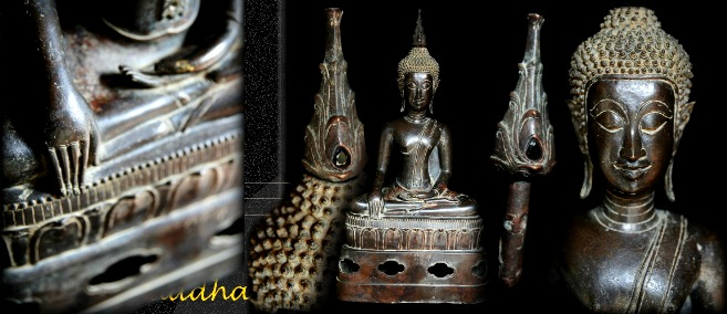 Extremely Rare 17C Bronze Sitting Laos Buddha #DW097