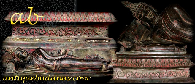 Extremely Rare 17C Bronze Reclining Laos Buddha #DW200