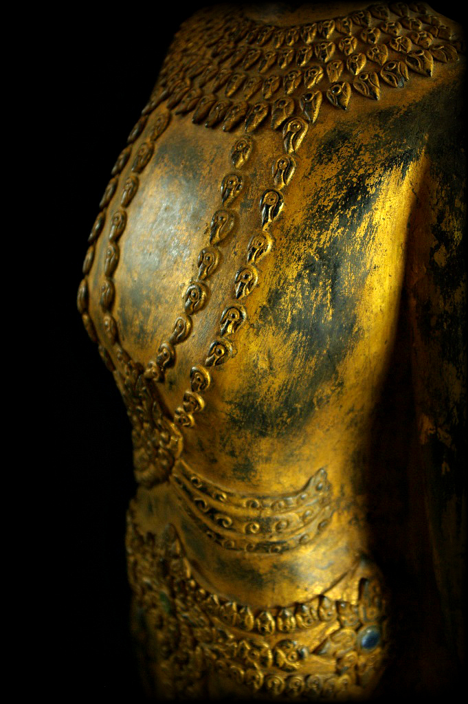 Extremely Rare 18C Standing Wood Laos Buddha #B056.2