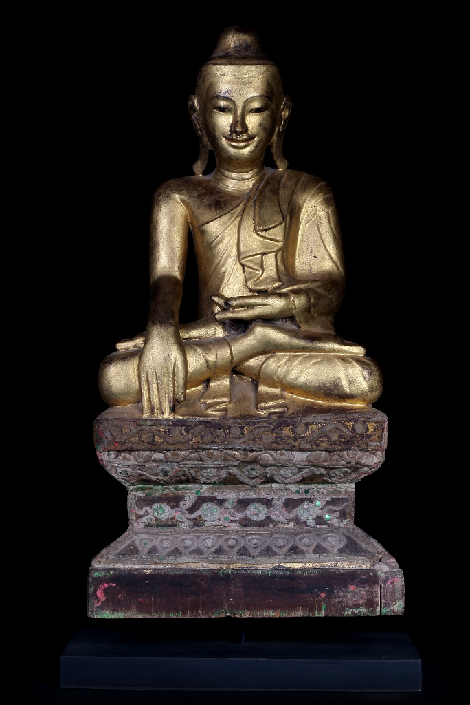 Extremely Rare 19C Wood Burma Madalay Buddha #A038