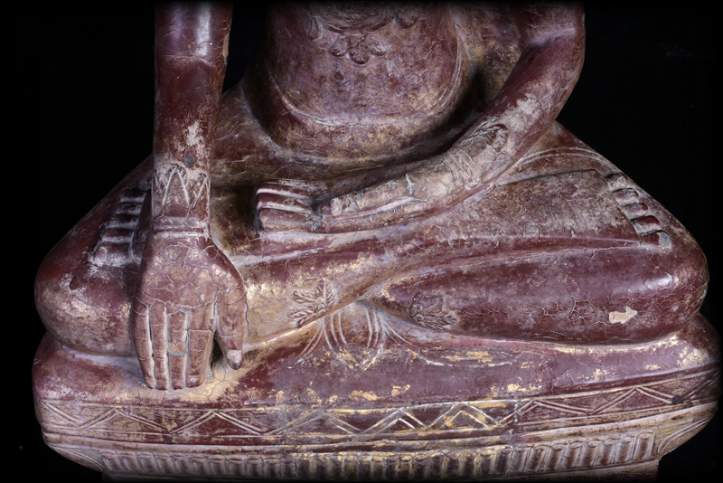 Extremely Rare 18C Wood Crowned Shan Burma Buddha #A090