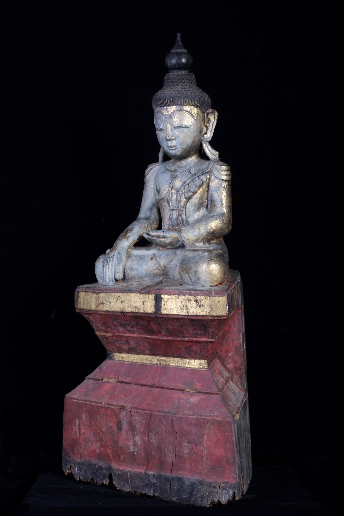 Extremely Rare Early 18C Wood Burma Ava Buddha #CA1074