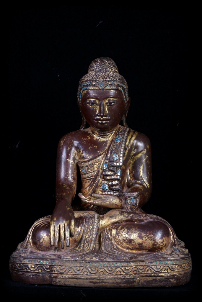 Extremely Rare 19C Wood Sitting Mandalay Buddha #CA072