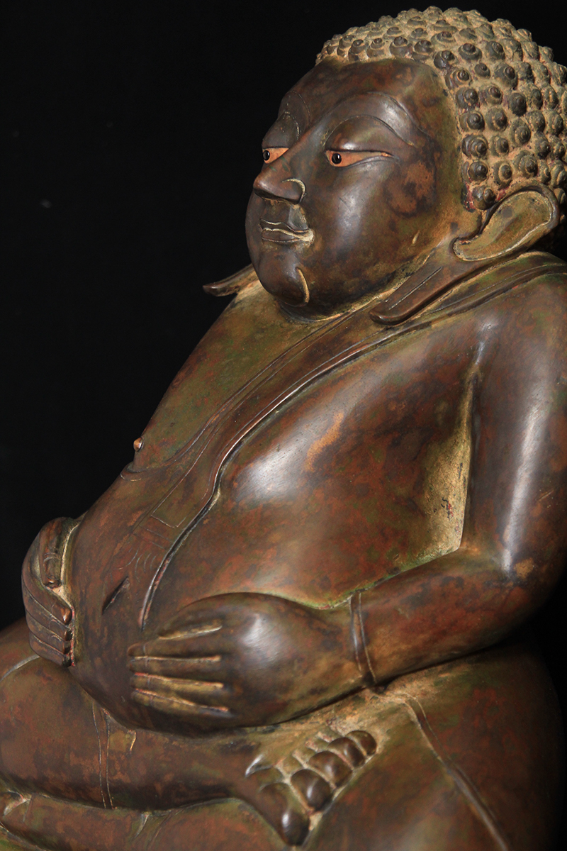Extremely Rare Early 19C Bronze Thai Happy Buddha #BB171