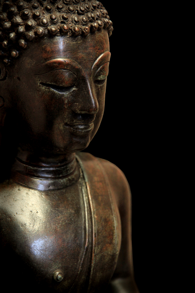 Extremely Rare Early 18C Bronze Laos Buddha #BB324