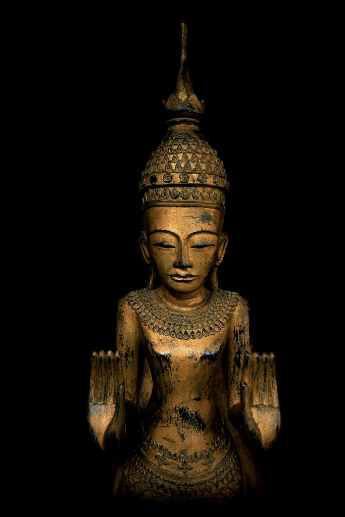 Extremely Rare 18C Wood Standing Shan Burmese Buddha #OF.075