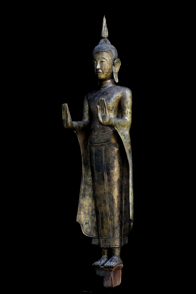 Extremely Rare Early 18C Wood Standing Thai Ayuttaya Buddha #A018