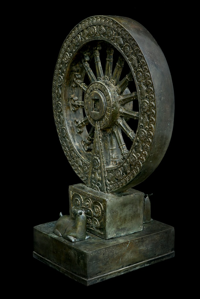 Extremely Rare Early 19C Bronze Thai Wheel of The Law and  A Crouching Deer # DW203