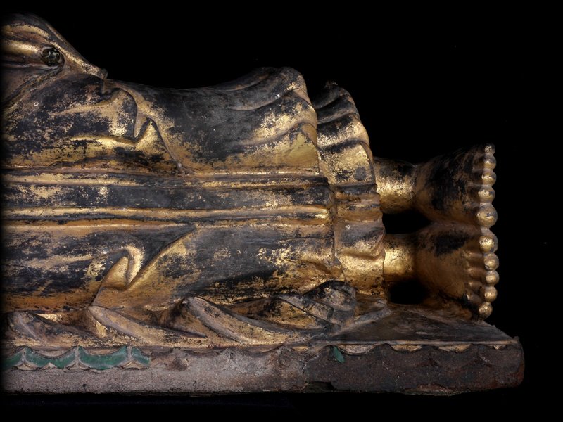 Extremely Rare Early 19C Wood Mandalay Reclining Buddha # A141