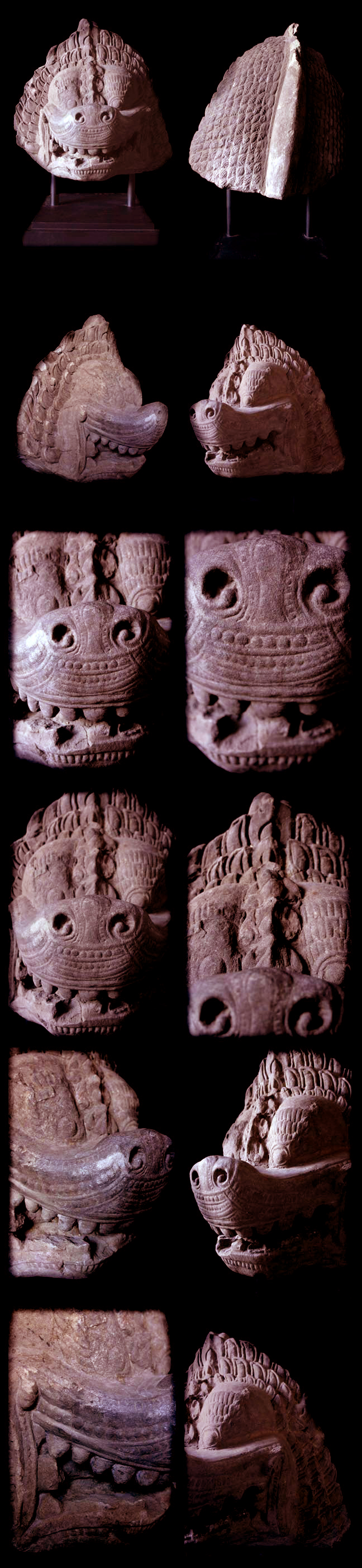 Extremely Rare 10C Sandstone Khmer Pair Of Guardian Lion Head #K.2604