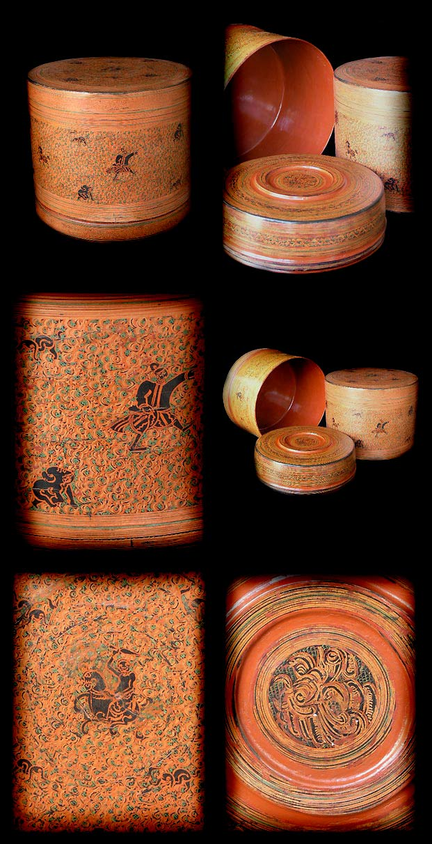 Extremely Rare Early 20C Pagan Lacquer Ware. #LW.723