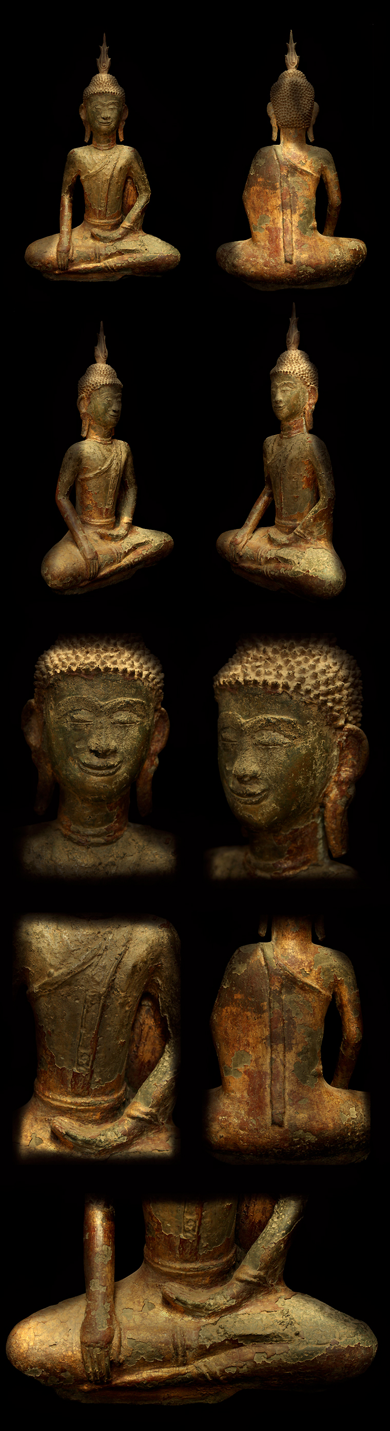 Extremely Rare 17C Sitting Bronze Laos Buddha #OF018-2